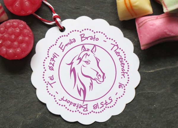 Kinderstempel mit Pferd Pferdekopf mit Wunschtext personalisiert