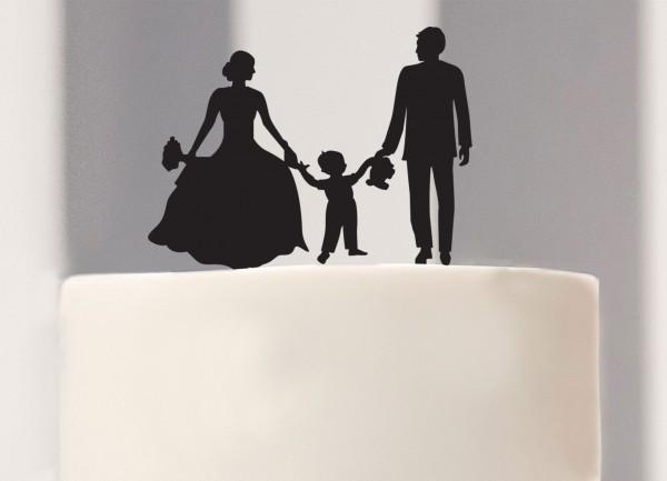 Cake Topper Brautpaar mit Junge als Silhouette