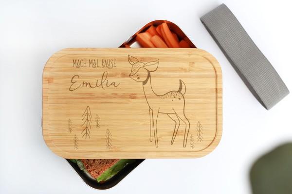 Nachhaltige Brotdose aus Edelstahl mit Bambusdeckel Baby Animal Reh Rehkitz