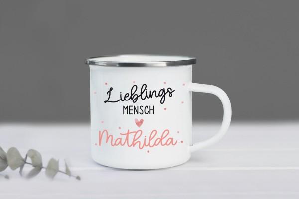 Emaille Tasse Lieblingsmensch mit Namen personalisiert, Fabe: Coral