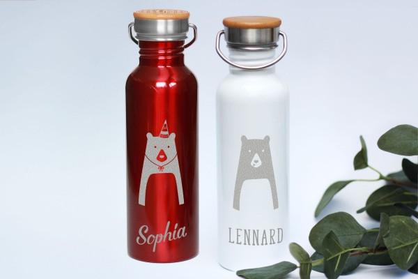 Trinkflasche Edelstahl mit Namen und Bambusdeckel personalisiert BÄR