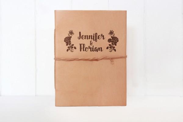 Leder-Notizbuch Wunschgravur mit Blumen-Logo