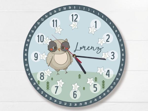 Kinder-Lernuhr mit 12/24 Stunden und Minuten mit Motiv Eule und Namen personalisiert