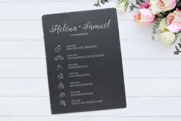 Schiefertafel mit Gravur Hochzeit Tagesablauf Termine für Gäste Tafel