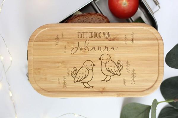 Nachhaltige Brotdose Name auf Lunchbox mit Bambusdeckel Vögelchen