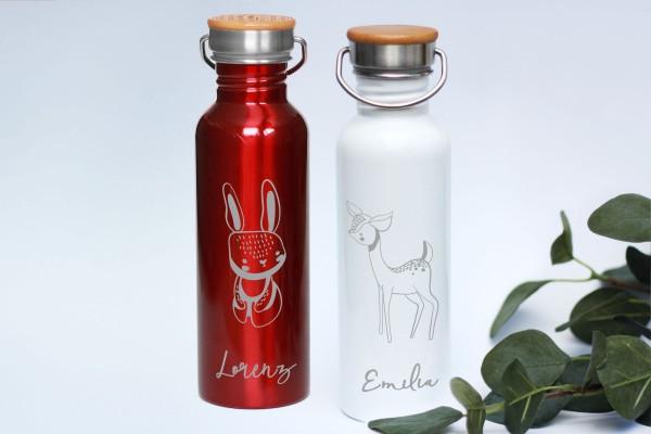 Edelstahl-Trinkflasche rot oder weiß