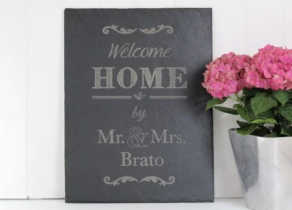 Welcome Home - Personalisierte Schieferplatte