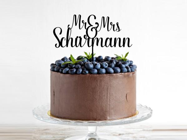 Hochzeitsdekoration für Torte mit Nachnamen