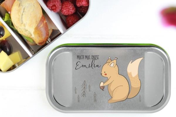 Butterbrotdose Metall Eichhörnchen mit Namen personalisiert