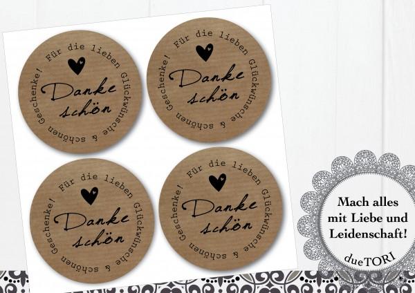 24/15 Sticker - Dankeschön! - Kraftpapier-Look