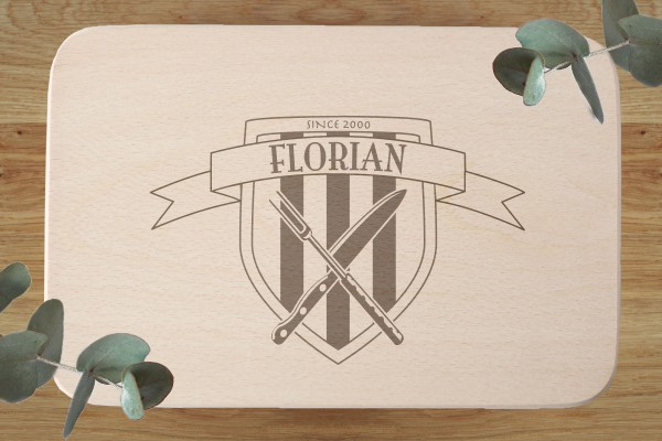 Brettchen Geburtstagsgeschenk mit Namen und Wappen Streifen