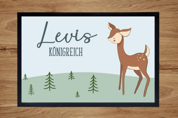 Fußmatte oder Spielmatte mit Motiv Reh und Namen personalisiert
