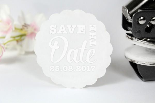 Prägestempel Save the Date für Prägezangen und Papierveredelung