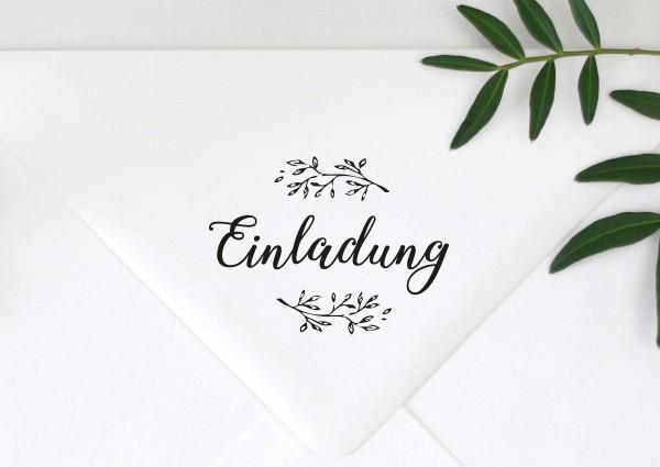 Schrift Stempel Spruch Einladung