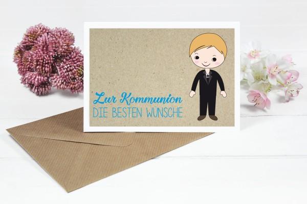Glückwunschkarte zur Kommunion für blondem Seitenscheitel Jungs