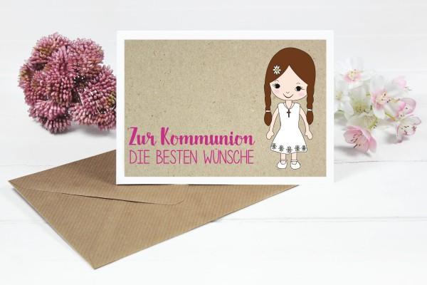 Glückwunschkarte zur Kommunion für Mädchen mit braunen Zöpfen