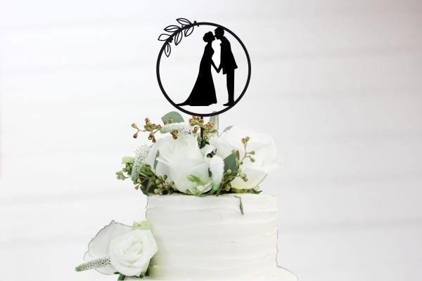 Tortenstecker Cake Topper Brautpaar küssend