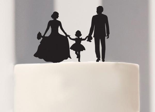 Cake Topper Brautpaar mit Mädchen Silhouette