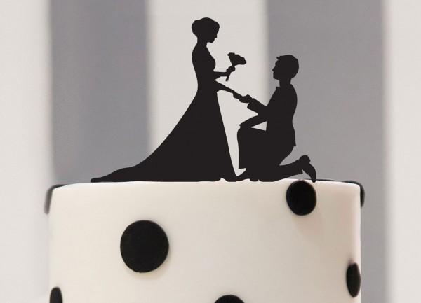 Cake Topper Heiratsantrag als Silhouette