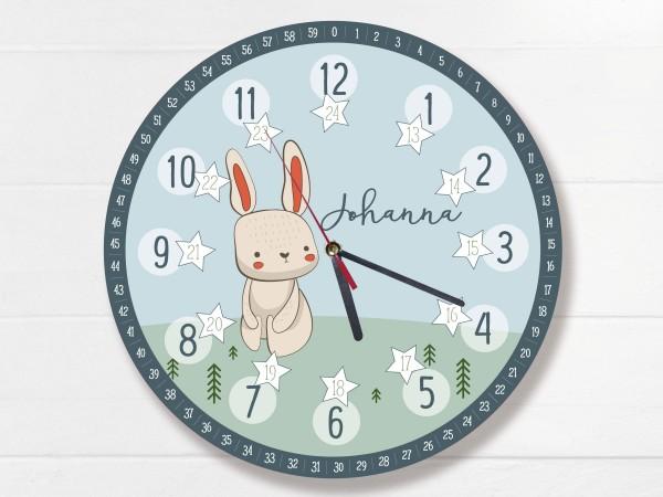 Kinder-Lernuhr mit 12/24 Stunden und Minuten mit Motiv Hase und Namen personalisiert