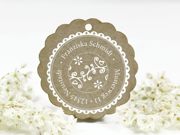 Adressstempel, Blumenornament, retro, personalisiert mit Name