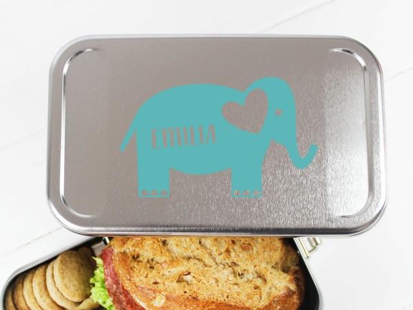 Nachhaltige Brotdose mit Name auf Elefant