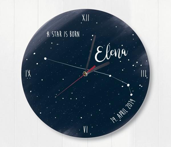 Sternzeichen Sternenhimmel Uhr mit Name und Datum Widder