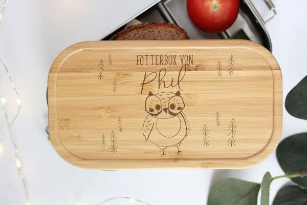 Nachhaltige Brotdose Name auf Lunchbox mit Bambusdeckel Waldtier Baby Eule