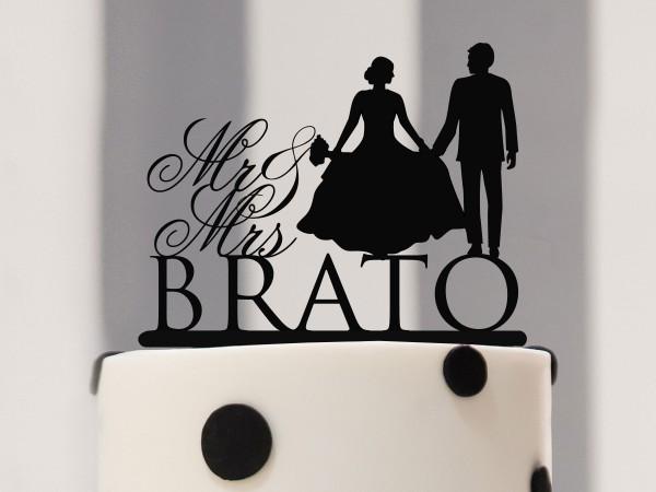 Cake Topper Mr & Mrs mit Nachname und Silhouette