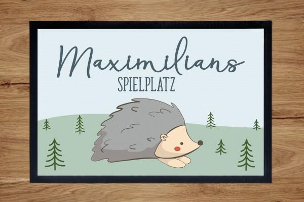 Fußmatte oder Spielmatte mit Motiv Igel und Namen personalisiert