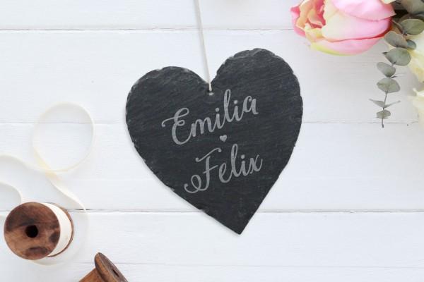 personalisierte Wanddekoration Schiefer Herz Namen Brautpaar Hochzeitsgeschenk