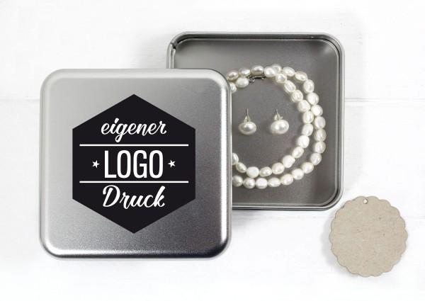 Schmuckdose Weißblech - quadratisch mit eigenem Logo
