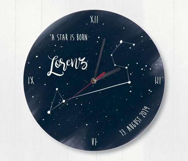 Sternzeichen Sternenhimmel Uhr mit Name und Datum Löwe