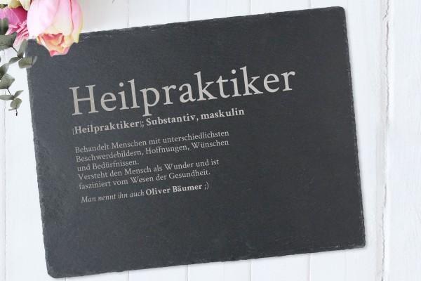 Tischset mit Namen Definition Heilpraktiker aus Schiefer