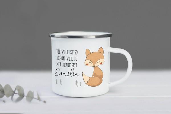 Emaille Tasse Fuchs mit Namen personalisiert