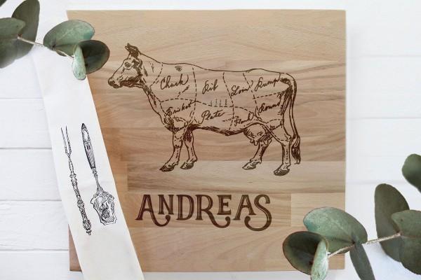 Schneidebrett Grillbrett für Grillfans mit Namen und Rind Kuh