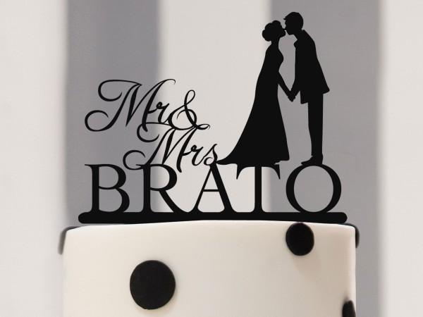 Cake Topper Mr & Mrs inkl. Nachname & Silhouette