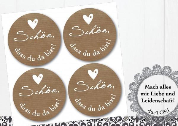 24/15 Sticker - Schön, dass du da bist! - Kraftpapier-Look