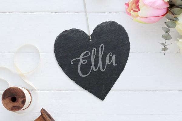 personalisierte Wanddekoration Schiefer Herz mit Namen Geburtstagsgeschenk