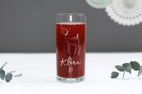 Trinkglas Kinderglas mit Motiv Reh personalisiert