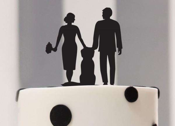 Cake Topper Brautpaar mit Hund als Silhouette