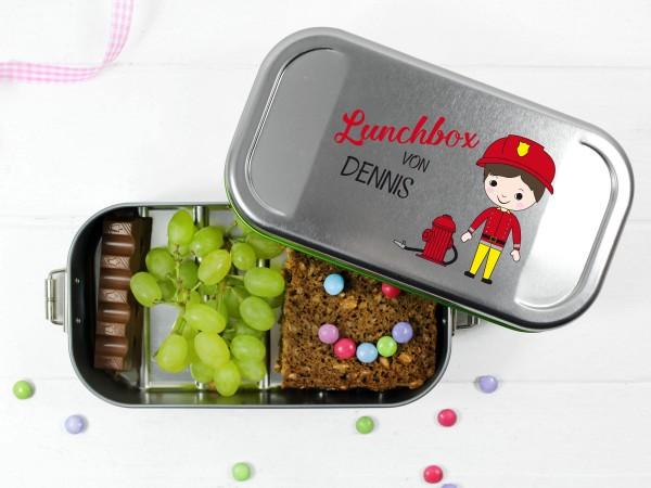Lunchbox mit Feuerwehrmann, personalisiert