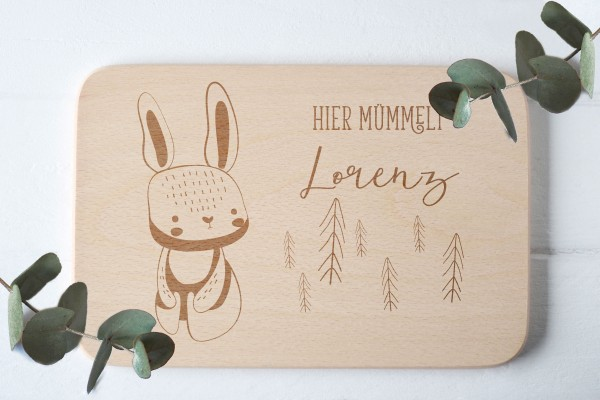 Brotzeitbrett für Kinder mit Hase Waldtier