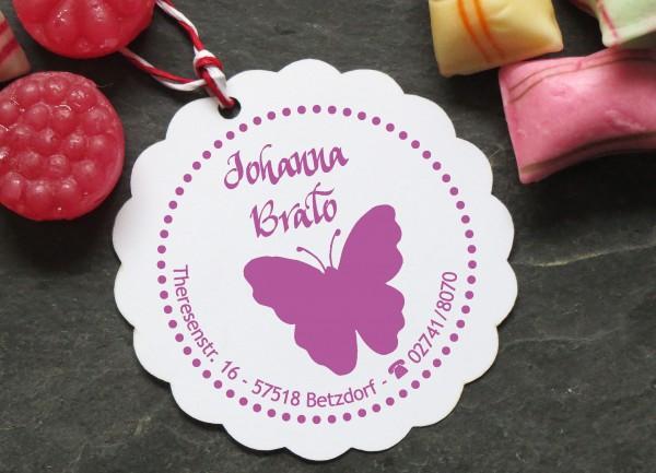 Kinder Adress Stempel mit Schmetterling