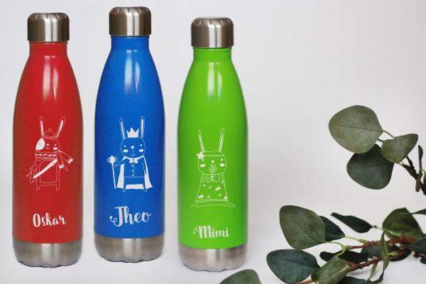 Trinkflasche Edelstahl mit Namen rot, blau oder grün
