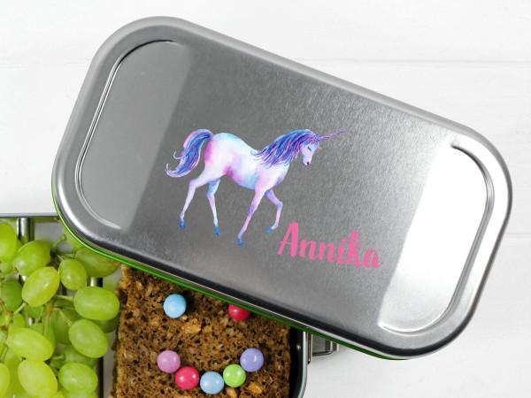 Lunchbox mit Einhorn, personalisiert