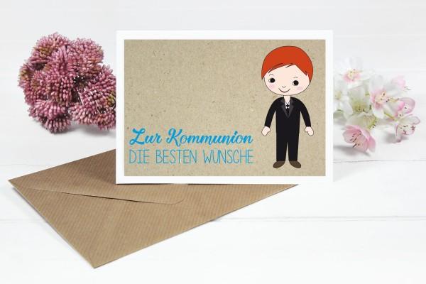 Glückwunschkarte zur Kommunion für mittlerer Haarfarbe Seitenscheitel Jungs