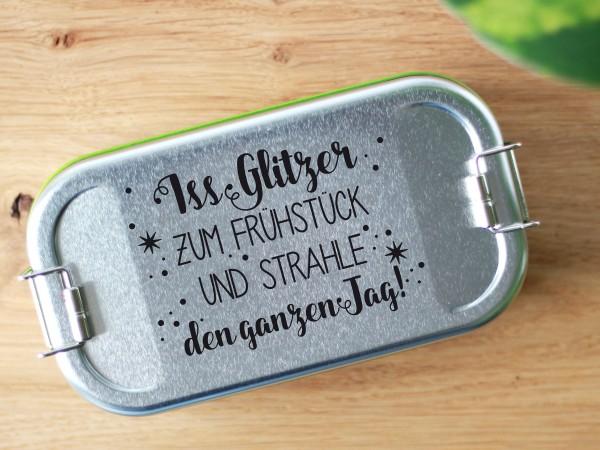 Brotdose aus Blech mit Trennwand und Spruch Iss Glitzer...