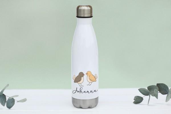 Thermotrinkflasche aus Edelstahl mit Vögelchen und Namen, weiße Flasche, farbig bedruckt