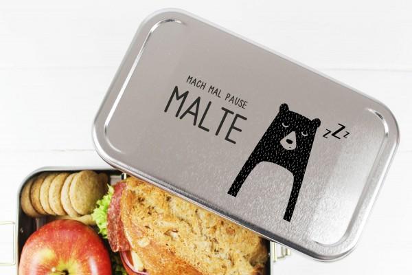 Nachhaltige Brotdose Name auf Lunchbox Morgenmuffel